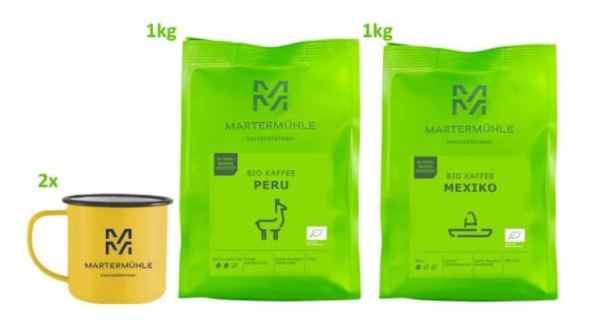 Bio Kaffee Paket 1kg Bio Peru/Bio Mexiko + 2x gratis Retro-Becher + FREIER VERSAND (1x p. Person)