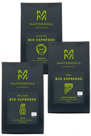 BIO Espresso Probierpaket 3x250g