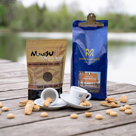 Caramello Paket (1kg Espresso) inklusive 2x Tassen und 1x Zucker + 1x Aroma Clip