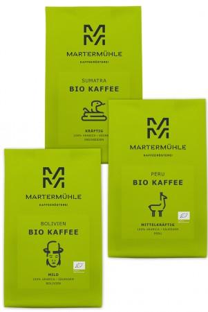 BIO Kaffee Probierpaket 3x250g