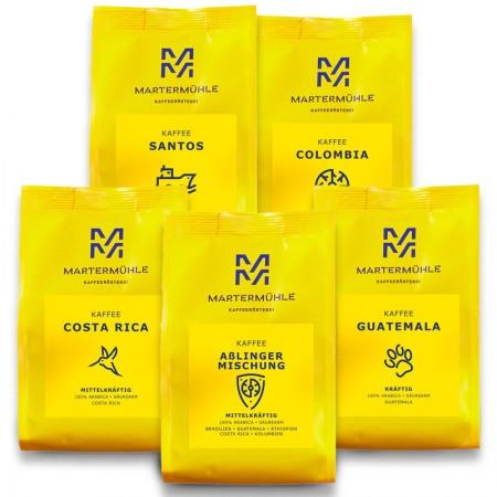 Best-of Kaffee PLUS Paket 5x 500g Kaffee 500g/ Ganze Bohne <br>(40/44/47/56/62/)