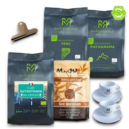 Bio Espresso Paket 3x 1kg inkl. 1x Zucker 1000g/ Ganze Bohne <br>(30 / 399 / 784 / 330)